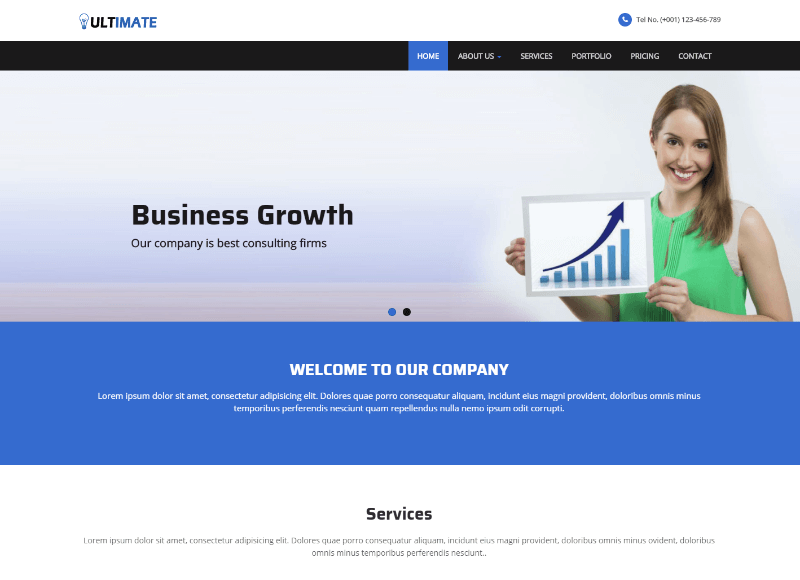 24 best free multipurpose html website templates 2018 ultimate business responsive html web template is a flat and clean modern html5 multi purpose web template for all kinds of corporate business agency accmission Choice Image