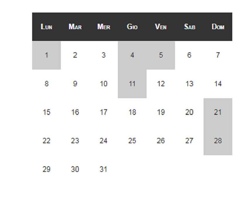 CSS: Calendar List