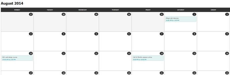 HTMLS/CSS Calendar