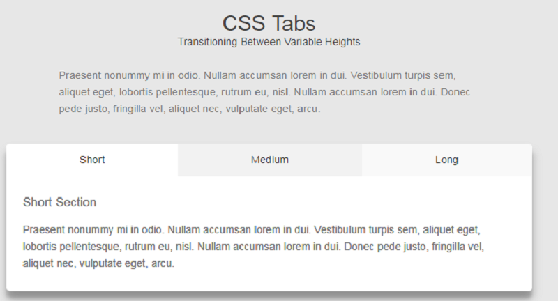 Transitioning Between Variable Heights with CSS Tabs