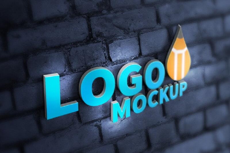 Realistic 3D Logo Mockup (PSD)
