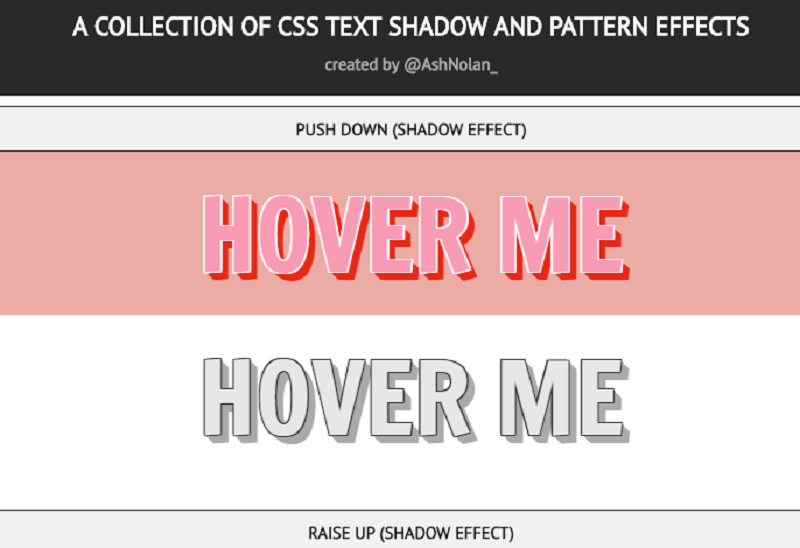 A collection of CSS Text-Shadow And Pattern Effects