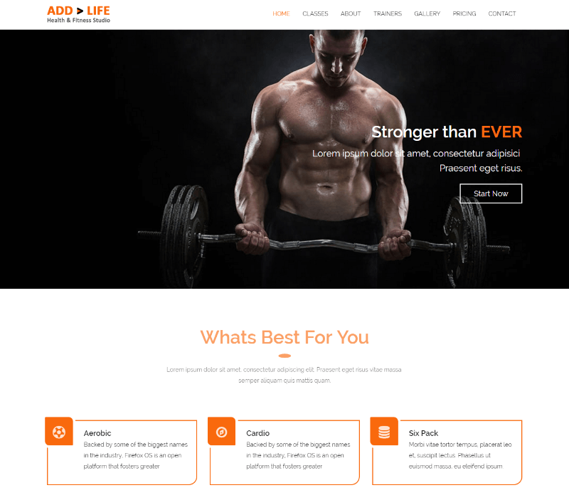 Add Life Health Fitness Free Bootstrap HTML5 Template
