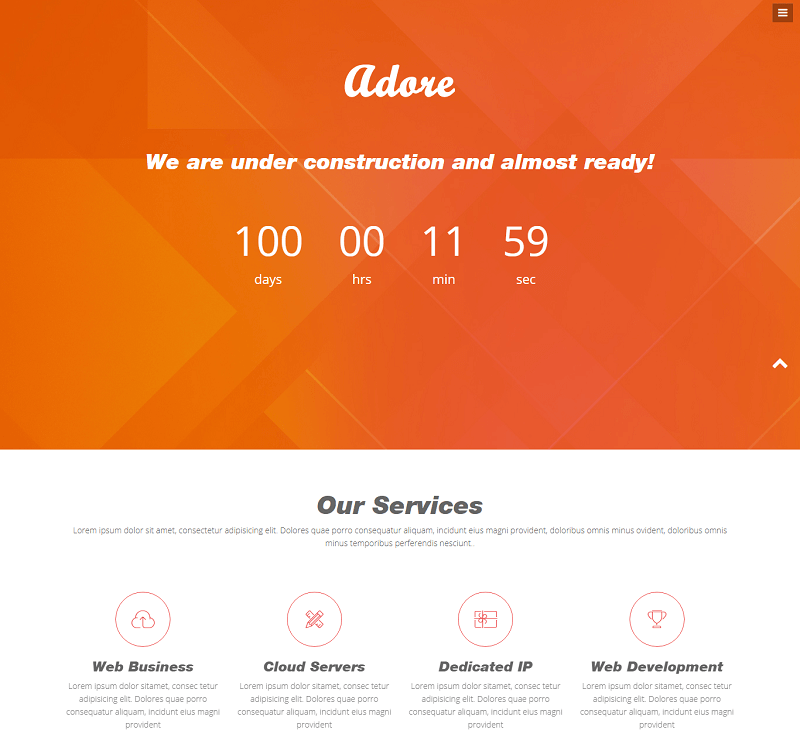 Adore HTML5 Bootstrap Coming soon Web Template