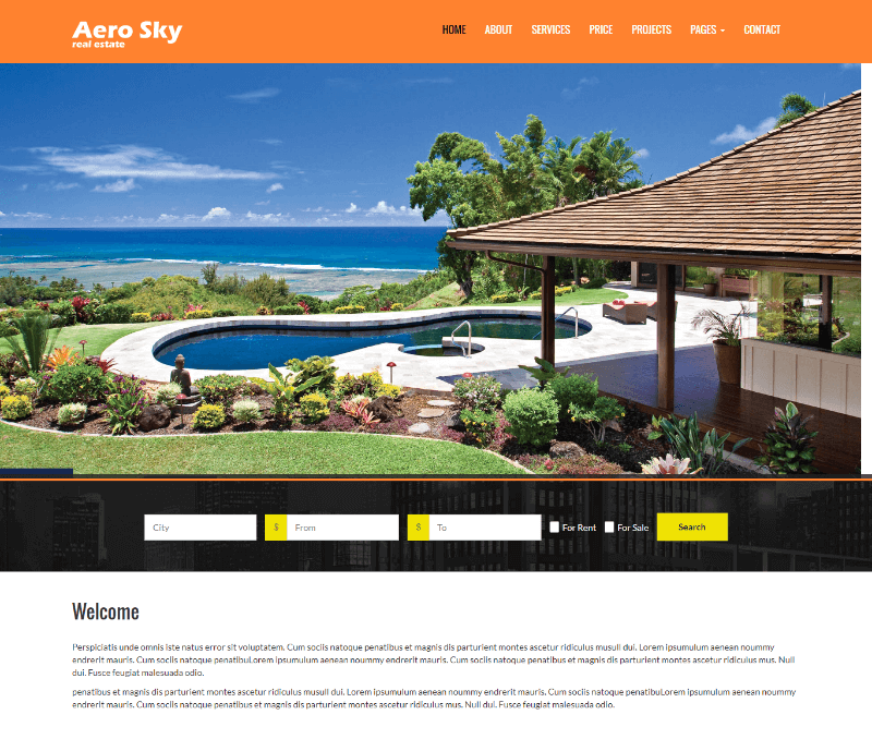 Aerosky Real Estate HTML Responsive Website Template