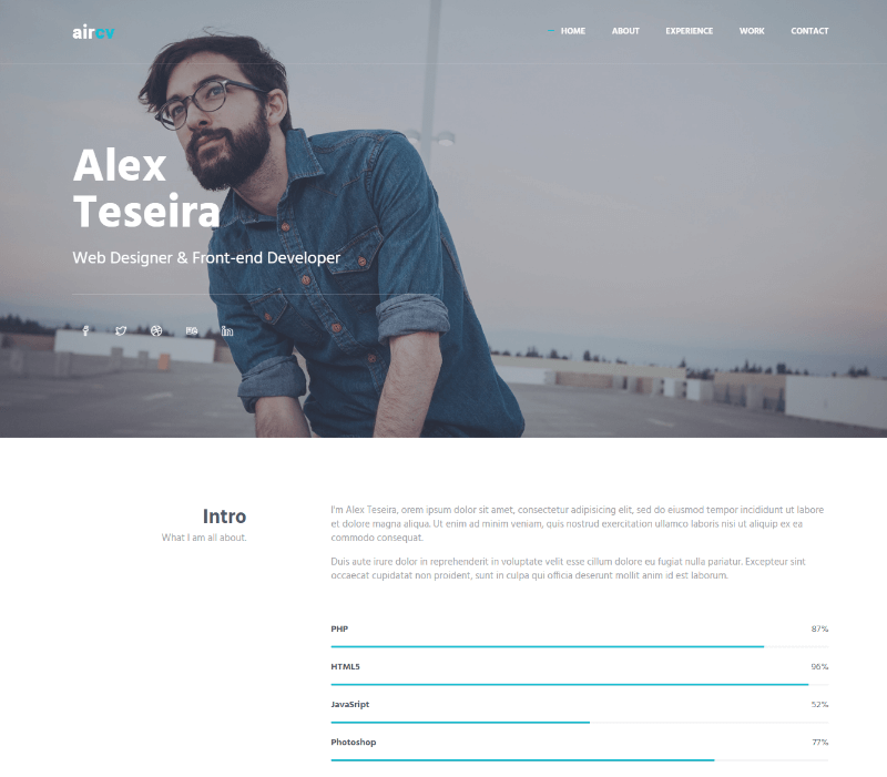 15 best free resume html website templates 2019 download now