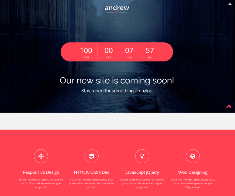 Andrew Responsive Bootstrap Coming Soon Template