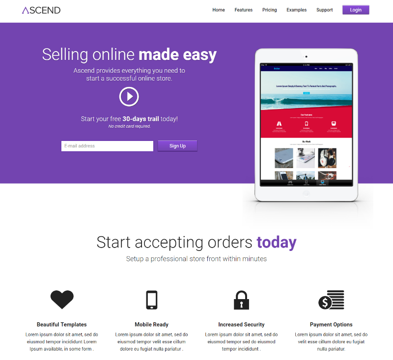 Ascend eCommerce Responsive Mobile Website Template