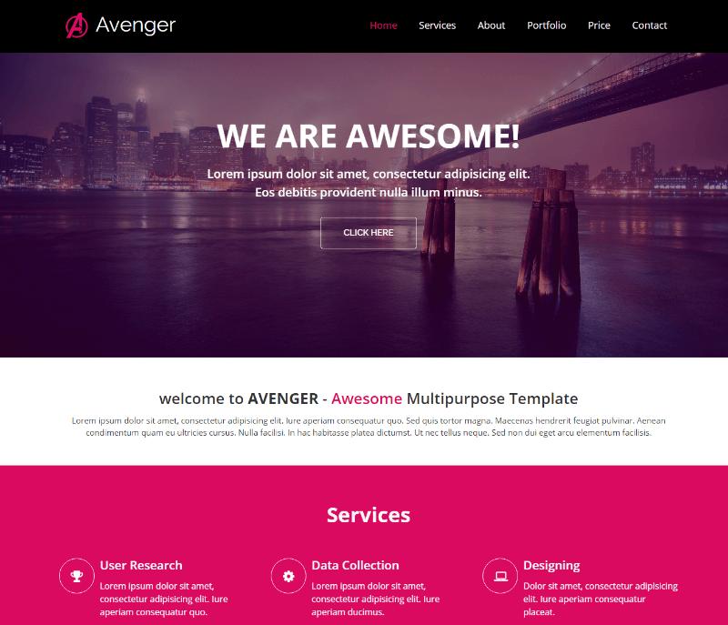 Avenger Multi-purpose Responsive HTML5 Bootstrap Template