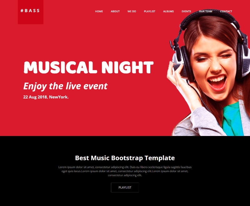 Bass Responsive Music Website Template Free