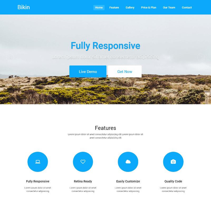 Bikin – Free Simple Landing Page Template
