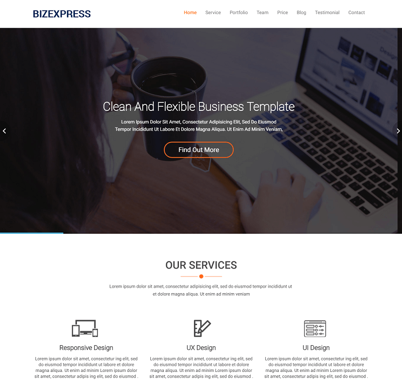 BizExpress – Free One-Page Bootstrap HTML5 Template for Business Agency