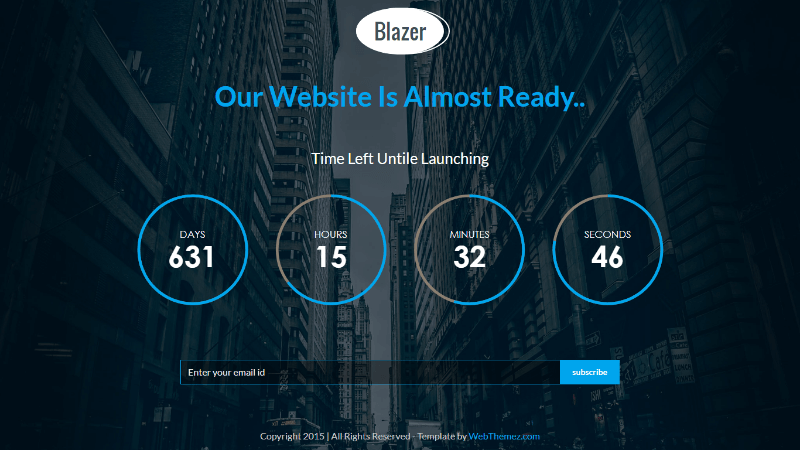 Blazer Responsive Html5 Coming Soon Template