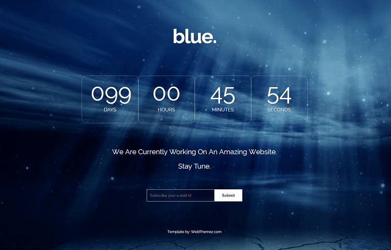 Blue Bootstrap Coming-soon Free Web Template