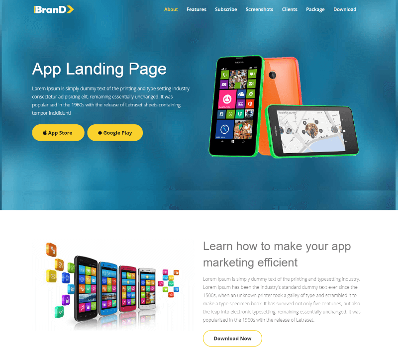 Brand HTML5 App Landing Page Responsive Web Template