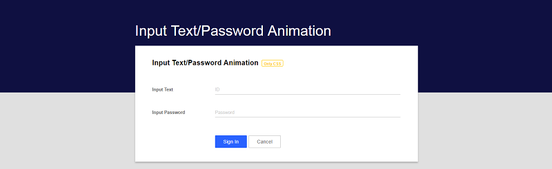 CSS3 Input Text/Password Animation