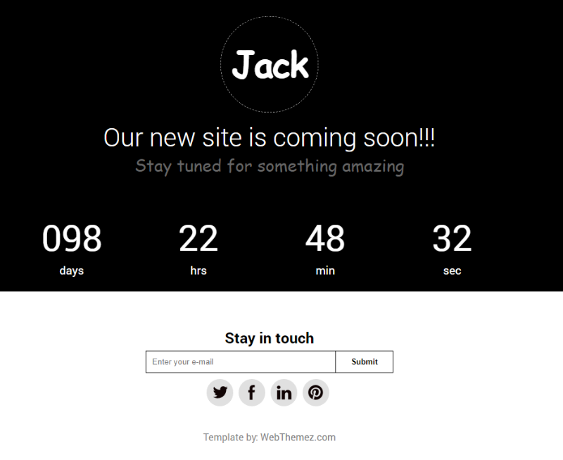 Coming Soon Responsive Theme – Jack