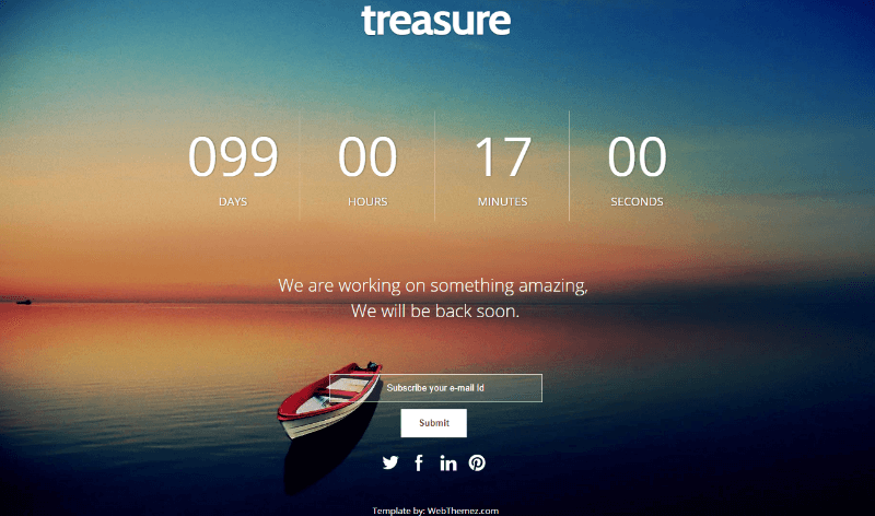 Coming Soon Responsive Web Template – Treasure