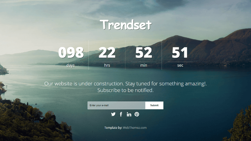 Coming Soon Responsive Web Template – Trendset
