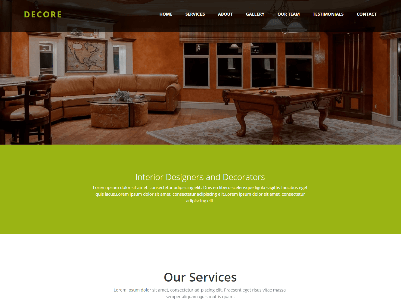 Decore Interior design HTML Bootstrap Website Template