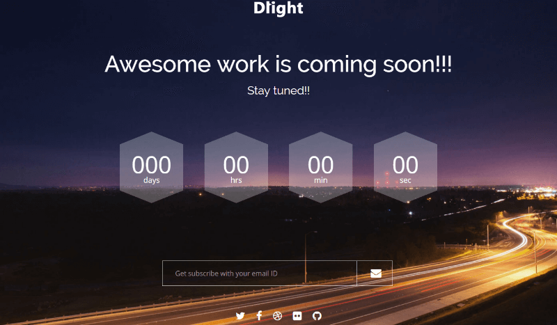 Dlight Free Coming Soon Bootstrap Template