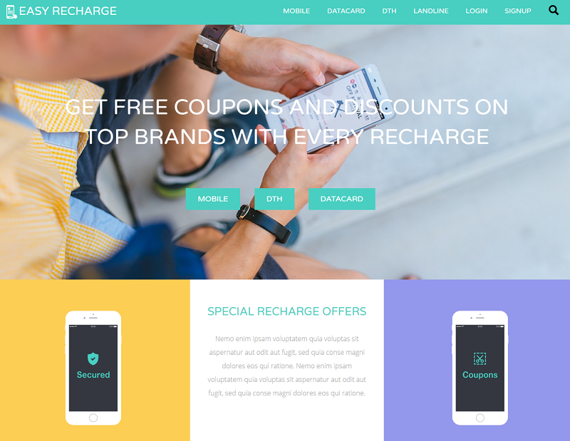 Easy Recharge a Online Recharge Bootstrap Responsive Web Template