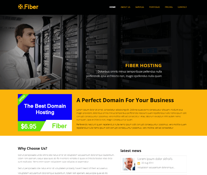 Fiber Hosting Bootstrap Website Template