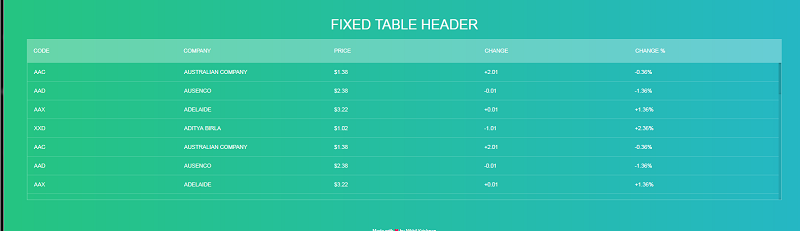 Fixed Table Header