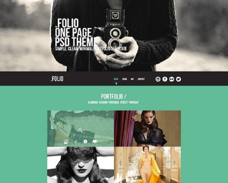 Folio One Page PSD Theme