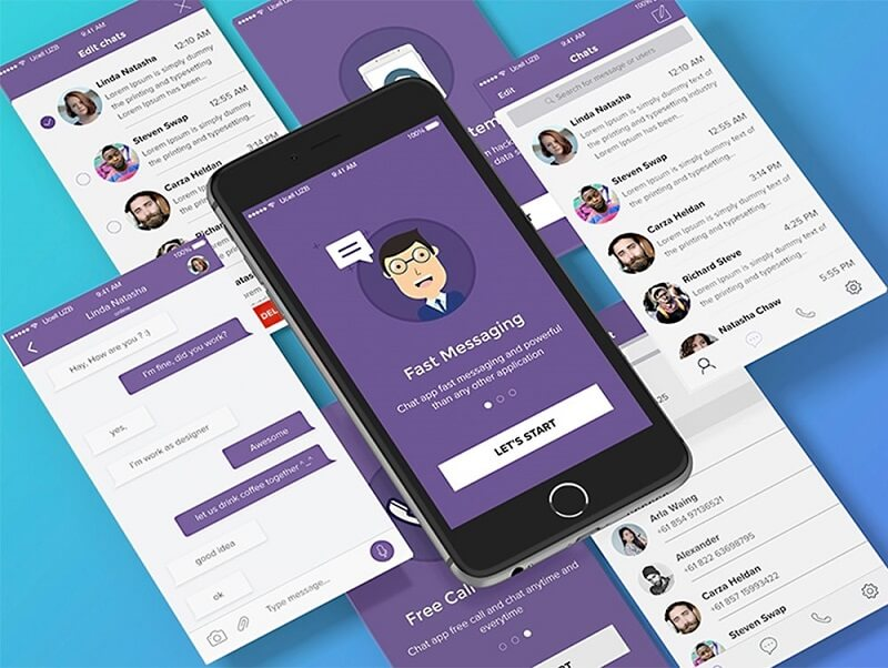 Free Chat App UI Kit PSD