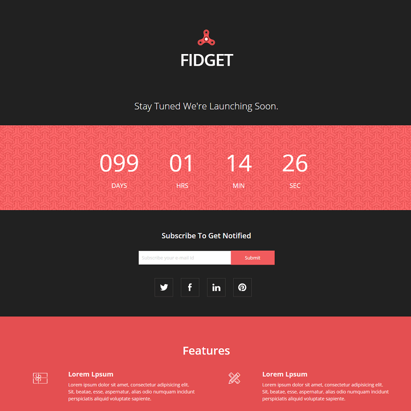 Free Coming Soon Website Template Fidget