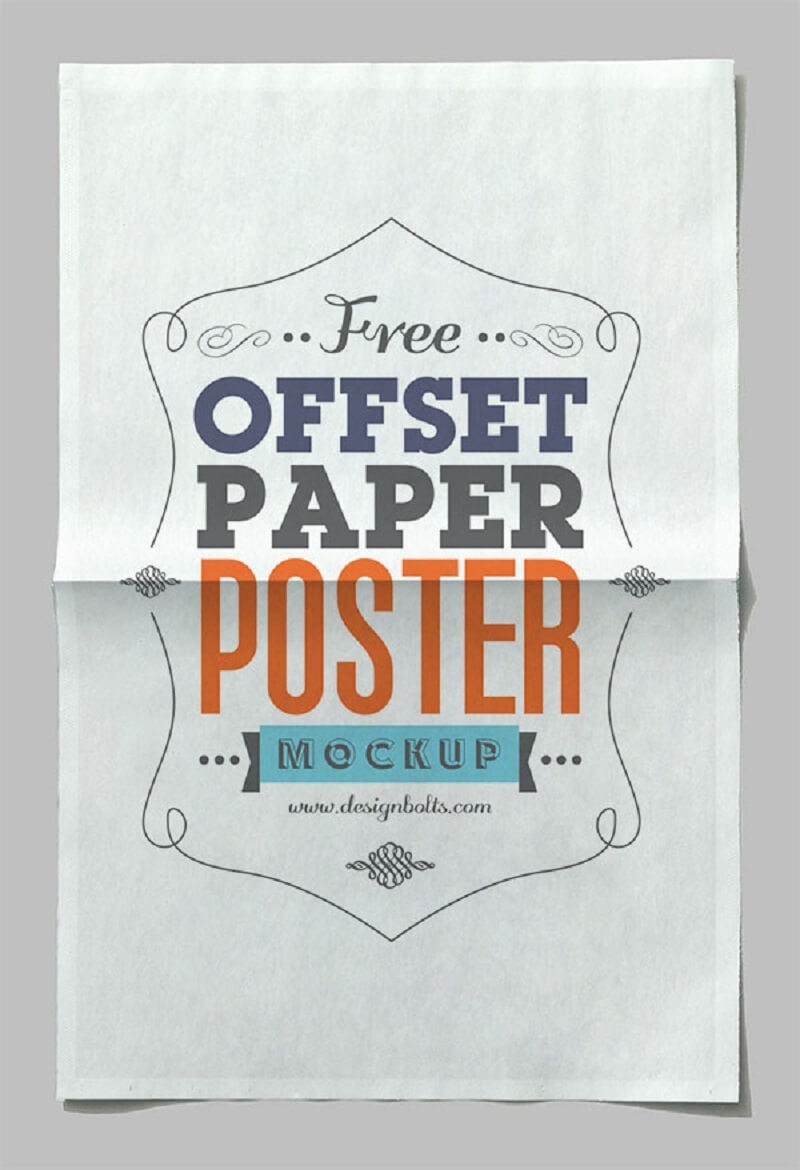 Free Offset Paper Horizontal Poster Mock-up PSD File