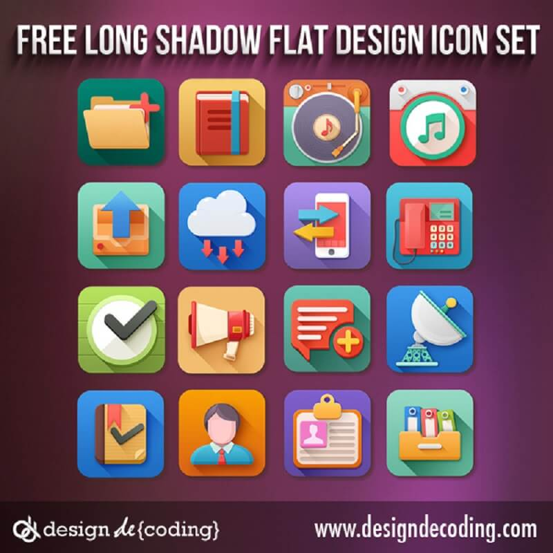 Free Long Shadow Flat Design Icon Set