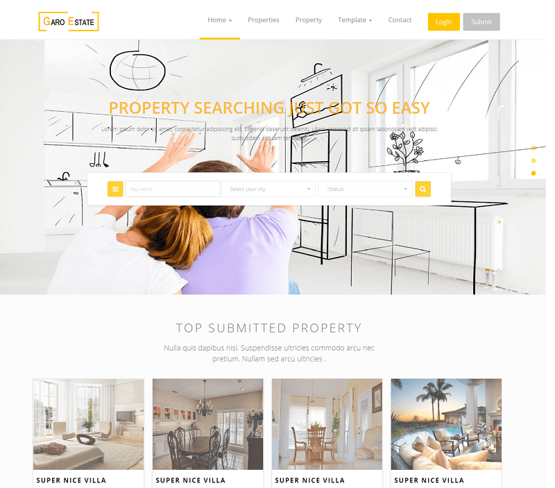 garo estate free html5 bootstrap multipage real estate template