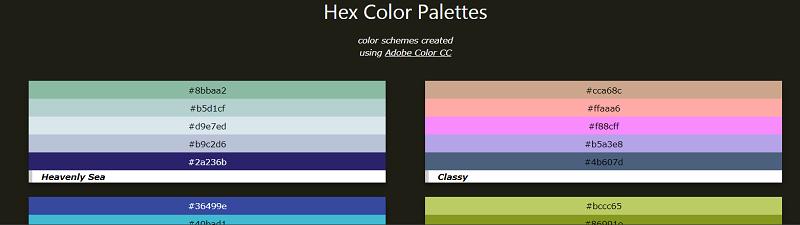 Hex Color Palettes