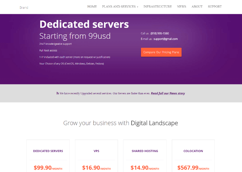 Hosting Free CSS Template