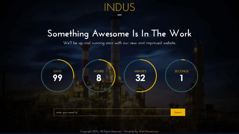 Indus Free Coming Soon Bootstrap Responsive Template