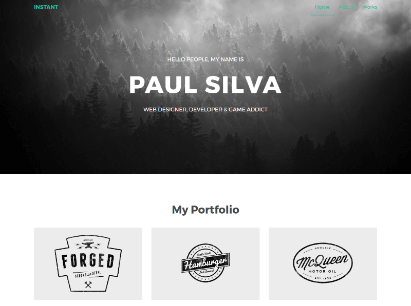 Instant – Free Responsive Personal Portfolio Website Template