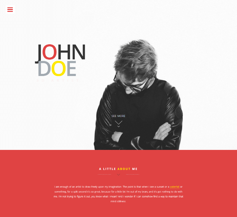 JohnDoe - Free One Page Portfolio Website Bootstrap Template