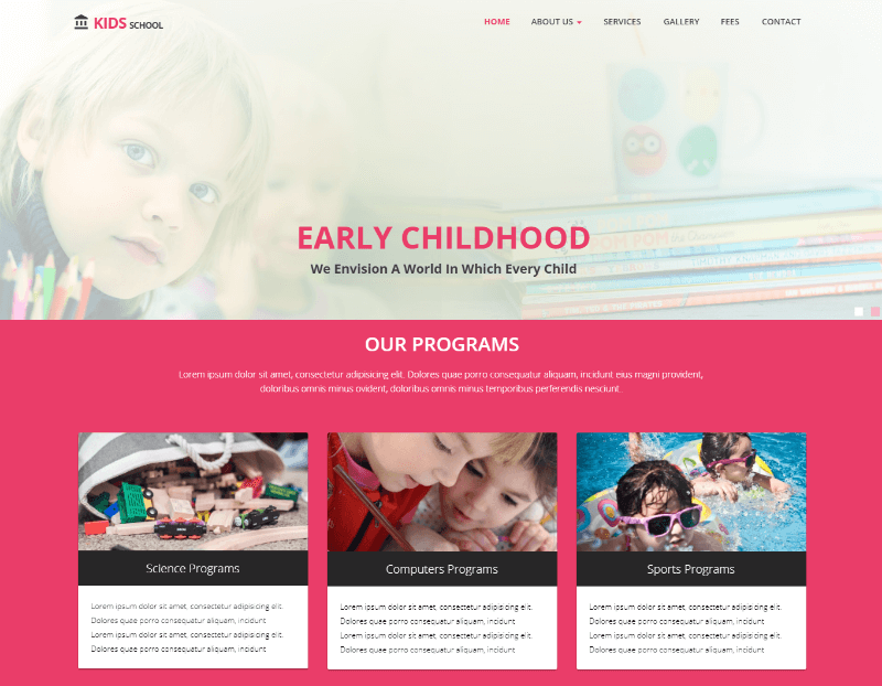 Kids Primary School HTML Website Template