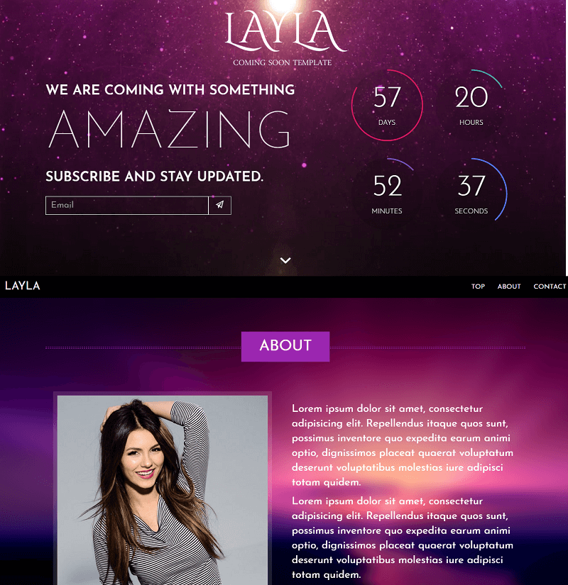 Layla – Free Responsive Coming Soon Under Construction Template