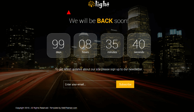 Light Coming Soon HTML Responsive Template