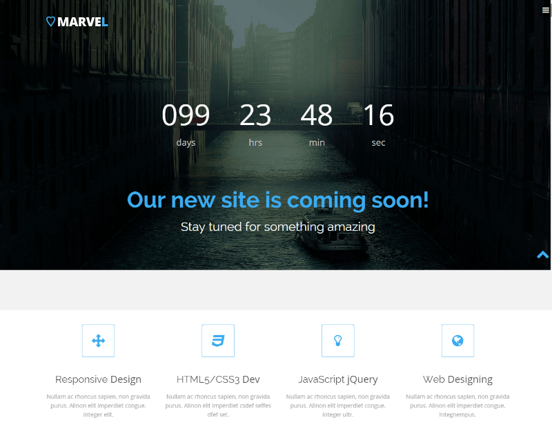 Marvel Free Bootstrap Coming Soon Template