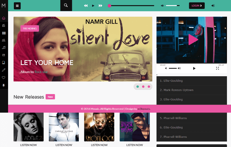 Mosaic a Entertainment Category Flat Bootstrap Responsive Web Template