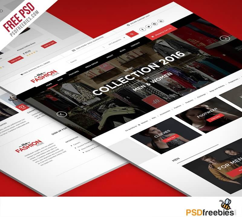 Freebie : Multipurpose eCommerce Website free PSD Template