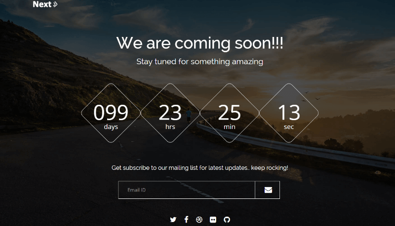 Next Responsive Coming Soon Bootstrap Template