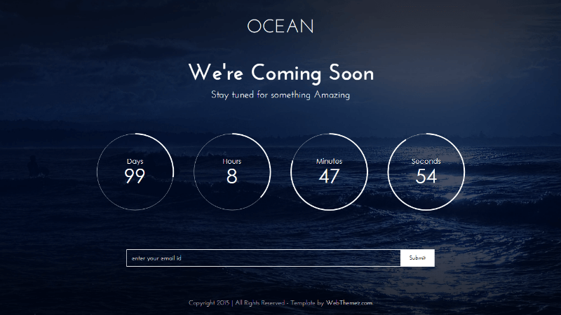 Ocean Free Coming Soon Bootstrap Template