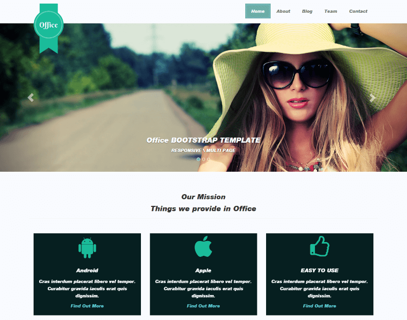 Office - Free Responsive Multipage Bootstrap Template