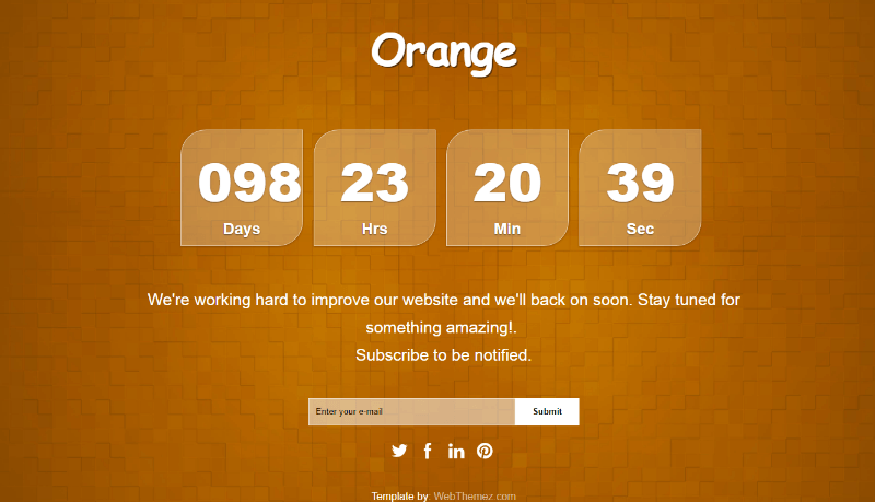 Orange Coming Soon HTML Responsive Template