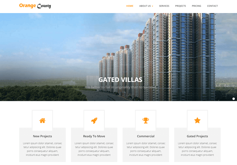 Orange County Real Estate Bootstrap HTML Web Template